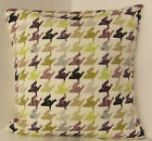 NEW SINGLE CUSHION COVERS BLACK PURPLE KHARKI DOG TOOTH PATTERN RETRO 60s STYLE