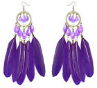 JF185 wholesale lots Feather chandelier earrings bead heart you pick quantity
