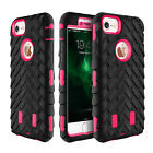Black Tyre Tread Soft Rubber PC Hybrid Shockproof Armor Case for iPhone Samsung