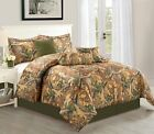 Natural Autumn Camouflage 7-Piece Soft Comforter Set Over Sized Bed In A bag