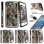 """For Apple iPhone 7 (4.7"""") Gold Case Clip Stand + Tempered Glass Tree Hunter Camo"""