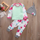 3PC Newborn Baby Girls Tops Long Pants Hat Outfits Set Costume Clothes Tracksuit