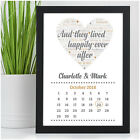 Personalised Wedding Date Print Bride & Groom Wedding Calendar Bespoke Gift