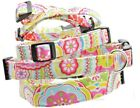 Bright Multi Color Print Print Dog Pet Collar Handmade Fabric Adjustable