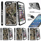 """For Apple iPhone 7 (4.7"""") Holster Clip + Tempered Glass Silver Case Tree Camo"""