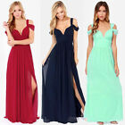 D342 Elegant Flowing Off Shoulder Sexy Deep V Long Wedding Party Dresses S-XXL