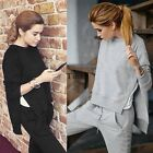 Autumn Women Slit Irregular Casual Sweatsuit Tracksuit Pullover Pants Sport Suit