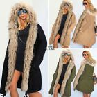 Womens Winter Warm Faux Fur Hooded Open Front Fleece Parka Coat Overcoat TXWD
