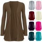 Womens Pocket Plain Boyfriend Ladies Open Front Long Sleeve Cardigan Blazer Top