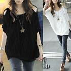 AU STOCK WOMEN'S GIRL'S BATWING SLEEVE CUT OUT SHOULDER BLOUSE TOP TEE T012
