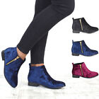 NEW WOMENS VELVET CHELSEA FLAT HEEL RIDING BIKER GOLD ZIP WOMENS ANKLE BOOTS