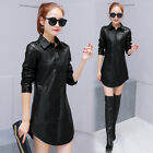Sexy Fashion PU Leather Short Dress Black Warm Thermal Cool Shirt Dress Button