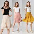 New Women Retro High Waist Pleated Layer Chiffon Short Mini Pompon Skirts Dress