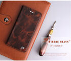 Fierre Shann Vintage Real Leather Magnet Flip Case Cover f. iPhone 6 6s 7 7 Plus
