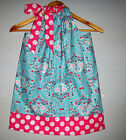 Blue pink Floral  pillowcase Dress handmade girl all seasons, 100%cotton handmad