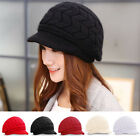 Ladies Cute Rabbit Fur Wool Brim Hat Women's Winter Warm Newsboy Cap with Visor