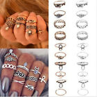 Fancy Design 10pcs/Set Vintage Gold Silver Carved Crystal Knuckle Ring Jewelry W