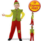 CK891 Child Elf Santa Helper Suit Christmas Xmas Fancy Dress Kids Costume Outfit