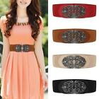 Women's Vintage Metal Flower Elastic Stretch Buckle Wide Waist Belt Waistband 1v
