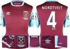 16 / 17 - UMBRO WEST HAM UNITED HOME SHIRT SS + PATCHES  NORDTVEIT 4 = KIDS SIZE