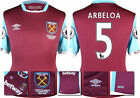 16 / 17 - UMBRO WEST HAM UNITED HOME SHIRT SS + PATCHES  ARBELOA 5 = KIDS SIZE