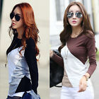 Autumn Women Casual Long Sleeve Splice T-shirt Round Neck Tops Tee Blouses S-XXL