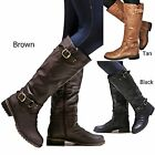 New Women Ed07 Brown Black Tan Buckle Riding Knee High Boots Size 5.5 To 11