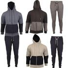New Mens Sports Jogging Running Hooded Full Top Bottoms Contrast Tracksuits Size