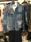 Spain Women's Looney Tunes Carton Print Embroidery Loose Retro Jeans Jacket XS-L