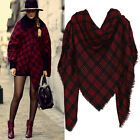 Oversize Wool Poncho Plaid Cashmere Cape For Women Fashion Shawls And Scarves