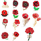 Enamel Twins Red Diamante Flowers Poppy Brooches Pins Remembrance Day Gifts 2017
