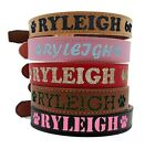 Custom Glitter Bling Personalized Tan Leather Dog Cat Collar Free Name Phone ID