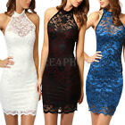 Women Backless Halter Sheer Lace Evening Party Wedding Cocktail Club Short Dress
