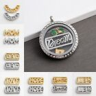 DIY 5pcs Alloy Words Dream Lucky Charm for Glass Floating Living Memory Lockets