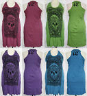 Skull Print Wrinkle Soft COTTON Racer Back TANK DRESS Plus Sz 2X-3X