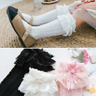 Girls Kids Toddler Knee High Cotton Socks Bow & Frilly Lace 9 months 6 years