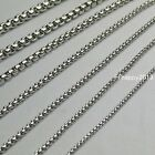 """2/2.5/3/3.5mm Wholesale Lot Of Silver Stainless Steel Box Chain Necklace 18""""-30"""""""