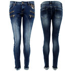 Womens Stretch Jeans Slim Fit Skinny Denim Double Zip Design Premium Simply Chic