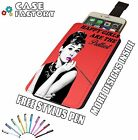 Audrey Hepburn Happy Girls Pretty RED - Universal Leather Phone Pouch Case Cover