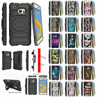 For HTC One M10 Protective Armor Case + Holster Belt Clip + Built-in Kickstand