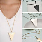 New High Quality Simple 3 Colors Triangle Pendant Long Necklaces for Men Women