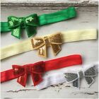 Miss SHAE - CHRISTMAS Newborn Baby Girls Sequin Bow Stretch Headband Red/Silver