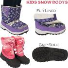 New Kids Girls Childrens Warm Snow Mucker Grip Sole Winter Boots Shoes Sizes Uk