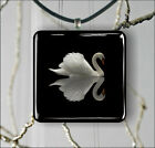 BIRD SWAN WHITE ON BLACK PENDANT NECKLACE 3 SIZES CHOICE -klt6Z