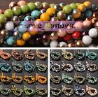 Hot Wholesale Lot 4mm 6mm 8mm Half Plated Glass Crystal Round Spacer Loose Beads