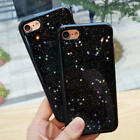 Fashion Cute Black Bling Star Glitter Soft Gel Case Cover for iPhone 6 6S 7 Plus