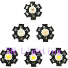 5-100pcs 3Watt LED + Star Heatsink White Blue Green Red Orange UV Pink