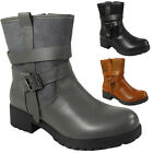 WOMENS LADIES BLOCK CHUNKY MID HEEL PLATFORM ZIP BUCKLE ANKLE BOOTS SHOES SIZE