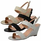 New Womens Slingback Strappy Diamante Glitter Evening Party Wedding Ladies Shoes