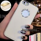 Luxury Bling Diamond Metal Bumper Frame +Leather Case Cover For iPhone 6 6S Plus